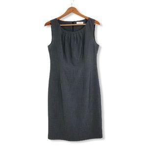 Calvin Klein Gathered Neck Grey Sheath Dress
